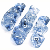 Black & White Nebula D10 Ten Sided Dice Set